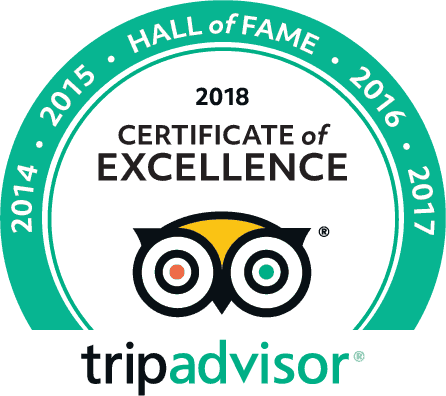 Hall of Fame 2014, 2015, 2016, 2017, 2018 Certificate of Excellence from Trip Advisor